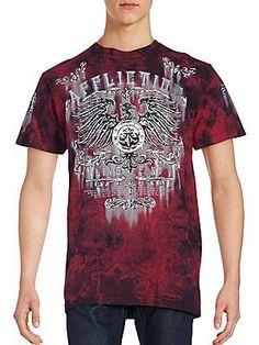 Affliction Printed Crewneck T-Shirt - Dark Red - Size