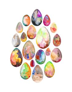 Birds Eggs Print.  Colorful Eggs Watercolor.  11 x 14.