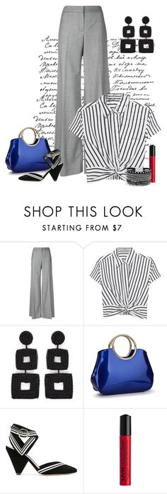 """""""Stripes contest"""" by empathetic ❤ liked on Polyvore featuring Alexander McQueen, T By Alexander Wang, Kenneth Jay Lane, Nicholas Kirkwood, NYX and White House Black Market"""