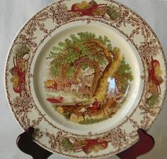 English plate with country scene