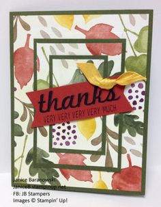 Layers of Thanks - lots of cards using this template but stamping on the designs. I used Color Me Autumn DSP from Stampin Up - #JBStampers