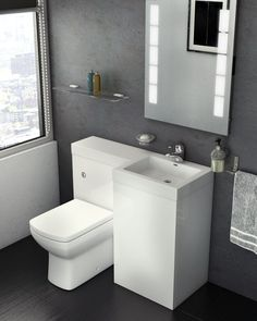 Venice Fitted Furniture Run – Weiß - Mobel DIY Dekoration Compact Bathroom, Bathroom Basin, Steam Showers Bathroom, Contemporary Bathrooms, Modern Bathroom, Small Bathroom, Toilet Sink, Toilet Room, Vanity Units