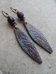 Damask Daggers ... Polymer Clay, Lampwork, and Brass Wire-Wrapped Earrings