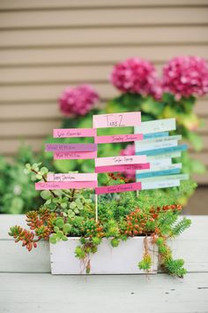 Stacked paper seating cards  Image Via: A Subtle Revelry