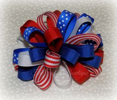 Patriotic Loopy Bow Stars & Stripes Bow by TandRCraftyBowtique Blue Bow, Red White Blue, Holiday Hair Bows, Elastic Headbands, Hairbows, Baby Bows, Fine Hair, July 4th, Grosgrain Ribbon