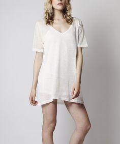 Cream Linen-Blend T-Shirt Dress #zulily #zulilyfinds