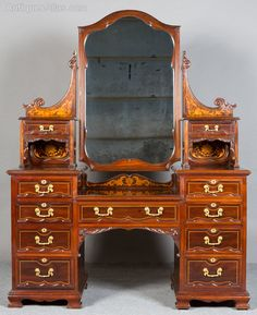 ~ Shapland & Petter Mahogany & Inlaid Dressing Table ~ antiques-atlas.com