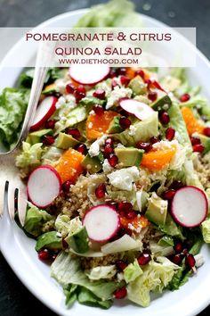 Pomegranate Citrus Quinoa Salad - Beautiful and festive salad made with Quinoa, pomegranate seeds, tangerine segments, and topped with a delicious homemade Cranberry-Pomegranate Vinaigrette. Salad Bar, Quinoa Salad, Soup And Salad, Healthy Salads, Healthy Eating, Healthy Recipes, Healthy Foods, Vinaigrette Recipe, Sauces