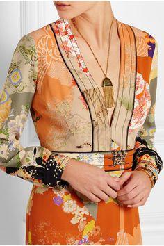 Gucci|Robe longue du soir en crêpe de Chine imprimée|NET-A-PORTER.COM