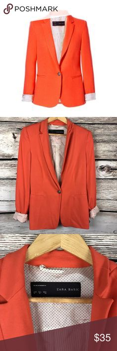 Zara basic orange blazer jacket size m Good condition and very cute! Zara Basic Jackets & Coats Blazers
