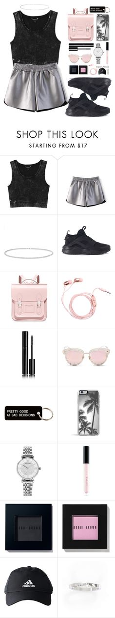 """sunglasses"" by anabelisstyle ❤ liked on Polyvore featuring Monki, Anne Sisteron, NIKE, The Cambridge Satchel Company, Chanel, LMNT, Various Projects, Emporio Armani, Huda Beauty and Bobbi Brown Cosmetics"