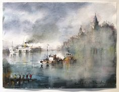 Isil Ozisik. Fisherman on a Dock. Watercolor. Available at Icon Galeria.