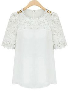 White Short Sleeve Hollow Lace Blouse 16.83