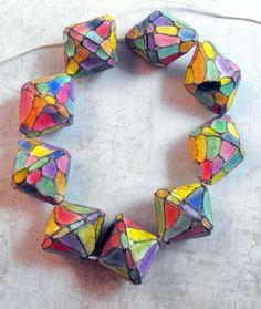 """3 Красочный Artisan """"Арлекин"""" Бусы ручной работы из полимерной глины"""