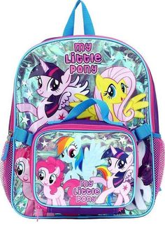 (NEW) My Little Pony Princess Twilight Sparkle & Fluttershy Backpack +Lunch Bag