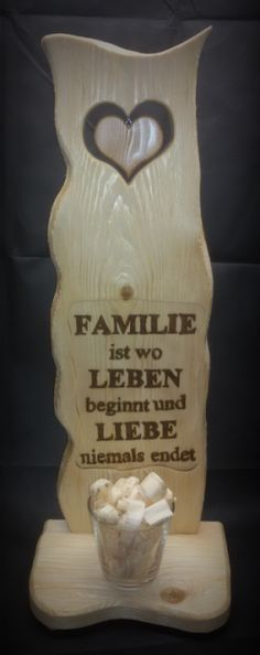 Exklusive Deko Säule mit Herz und Spruch, aus Massivholz!