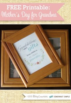 Free Mothers Day printable for Grandma in 5x7 or 8x10 perfect to frame