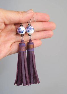 Long Purple Tassel Earrings, Purple Statement Earrings with ceramic beads by EchidnaArtandCards on Etsy