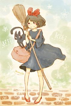 kiki's delivery service ^This movie, i love it, its like the only Hayao Miyazaki film that doesnt scare me.