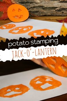 Potato Stamping Jack-O'-Lantern Faces (hands on : as we grow) Halloween Crafts For Kids, Halloween Activities, Halloween Art, Fall Crafts, Holiday Crafts, Kids Crafts, Room Crafts, Holiday Fun, Art Activities For Kids