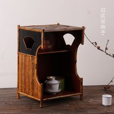 Japanese-style bamboo tea shelf