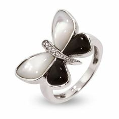 Mother of Pearl Onyx Sterling Silver Butterfly Ring - Fashion Jewelry