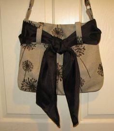 Purse tote bag light tan with abstract brown flowers by jewellgem, $40.00