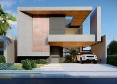 Unique home design ideas. Contemporary house designs have a lot to offer to a modern occupant. Ultimately, the modern house architecture does not limit creative minds at all. Modern House Facades, Modern Architecture House, Architecture Design, Facade Design, Exterior Design, Style At Home, Modern Villa Design, House Front Design, Contemporary Home Decor