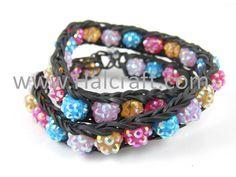 Black Rainbow Loom bracelet with shambala style beads - wear it doubled. Cool!