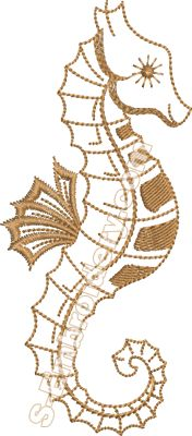 Sea horse machine embroidery design