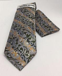 Stacy Adams Tie & Hanky Set Sage Green, Gold & Gray Paisley Design Men's New #StacyAdams #TieHankySet