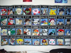 Alright so I finally got around to figuring out how to hang up the blanket so all of you can see it completely. Whole SSBB Blanket Super Smash Bros Brawl, Kid Icarus, Nintendo Characters, Old Video, Knitted Blankets, Super Mario, Nerdy, Pokemon, Anime