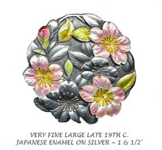 Great Button Very Large Late 19th C Japanese Enamel On Silver Cherry Blossoms |  EBay