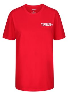Comfortable, stylish and breathable, our logo T-Shirts are superior quality - plain and simple. In bright red, this Tikiboo top is cut from 100% ringspun combed cotton giving it softness and durability that feels great and looks awesome.  Offering a unisex fit that isn't skin-tight or boxy, neck and shoulder taping strengthens the seams so you can have a full-body stretch or work those guns without a worry. Full Body Stretch, Body Stretches, Red Logo, Skin Tight, Superior Quality, Shoulder Taping, Feels, Guns, Tee Shirts