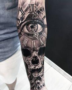 Temporäre Tattoos machen - - to make temporary tattoo crafts ink tattoo tattoo diy tattoo stickers Skull Sleeve Tattoos, Best Sleeve Tattoos, Tattoo Sleeve Designs, Tattoo Designs Men, Sleeve Tattoo For Guys, Clock Tattoo Sleeve, Men Tattoo Sleeves, Tattoo Clock, Clock Tattoo Design