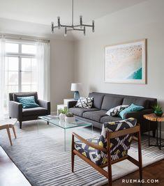 Living Room With Benjamin Moore Edgecomb Gray Walls, Gray Sofa, Geometric  Modern Chair,