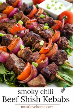 Smoky Chili Beef Shish Kebab with peppers, onions, a flavorful marinade and a final dusting of smoky spices are perfect for using inexpensive cuts of meat. They're great for summer grilling or the broiler! #mustlovehomecooking Best Beef Recipes, Best Chili Recipe, Kebab Recipes, Grilling Recipes, Real Food Recipes, Easy Recipes, Favorite Recipes, Easy Chicken Dinner Recipes, Healthy Dinner Recipes