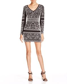 Aqua V-Neck Embellished Dress