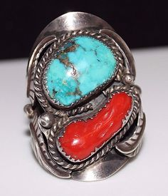 Very Large Vintage Navajo Indian Turquoise & Coral Ring, Signed S.R. Chee Sz 15