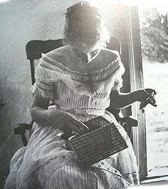 A graceful Tasha Tudor sewing, as a young woman (1940?)