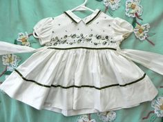 Sweet Vintage 50s Baby Girls white and Green Party by maybel57 - ONLINE ONLY at Etsy.com, $26.95
