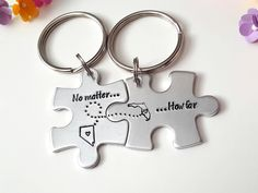 Long Distance Relationship, Puzzle Piece Keychains, State to State Keychains, Gift for Her, Girlfriend Gift, Christmas Gift for Her