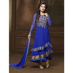 Rimi Sen Blue Georgette #Anarkali Suits With Dupatta- $43.71