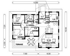 iq-7-115m2-es-tipusterv-alaprajz House Plans, Floor Plans, How To Plan, Interior, Google, Home, Ad Home, Home Plans, Indoor