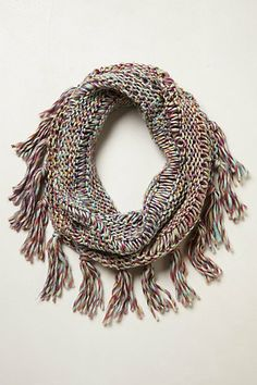 Basel Fringe Cowl #anthropologie Infinity scarf - could I make this by taking the cowl neck off an old sweater?