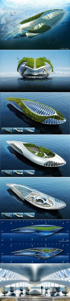 Amphibious Floating Garden That Purifies The Water, The Physalia. The Physalia project is an amphibious floating garden that purifies water.The Physalia project is an amphibious floating garden that purifies water. Architecture Durable, Floating Architecture, Futuristic Architecture, Sustainable Architecture, Amazing Architecture, Architecture Design, Environmental Architecture, Floating Garden, Floating House