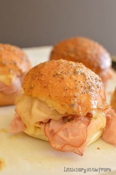 Hot Ham & Cheese Sliders (with butter, mustard and poppy seed glaze)