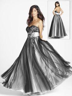 Empire Strapless Belt Sleeveless Floor-length Chiffon Prom Dresses / Evening Dresses
