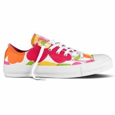 Summer Converses!   Marimekko Pink/Orange Unikko Converse Shoes - Click to enlarge