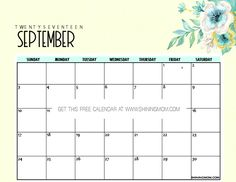It's time to write your plans for the month of September! Once again, here are Shining Mom's free printable September 2017 calendar copies to print outright. Browse through to enjoy these bea…
